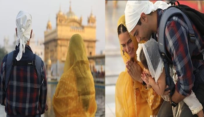 Neha Dhupia-Angad Bedi Visits Golden Temple With Daughter Mehr