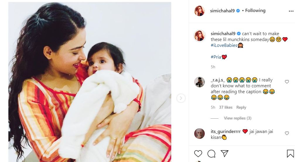 inside pic of simi chahal post with baby girl