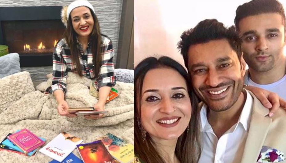 inside pic of harbhajan mann with wife and son