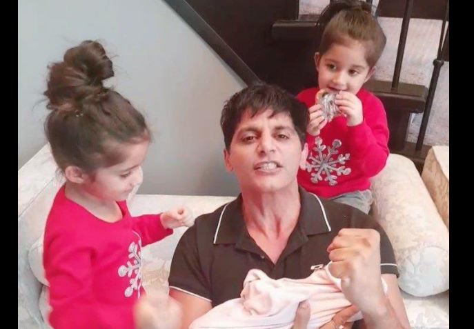 inside pic of karnveer bohra with new born baby