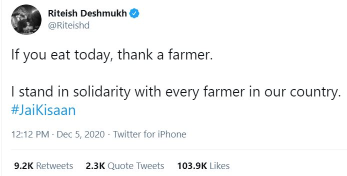 ritish deshmukh tweet for farmers