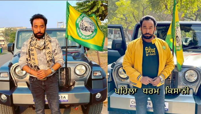 Actor Darshan Aulakh decorates his new Thar with a farmer's flag