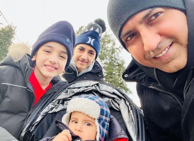 gippy grewal with his kids