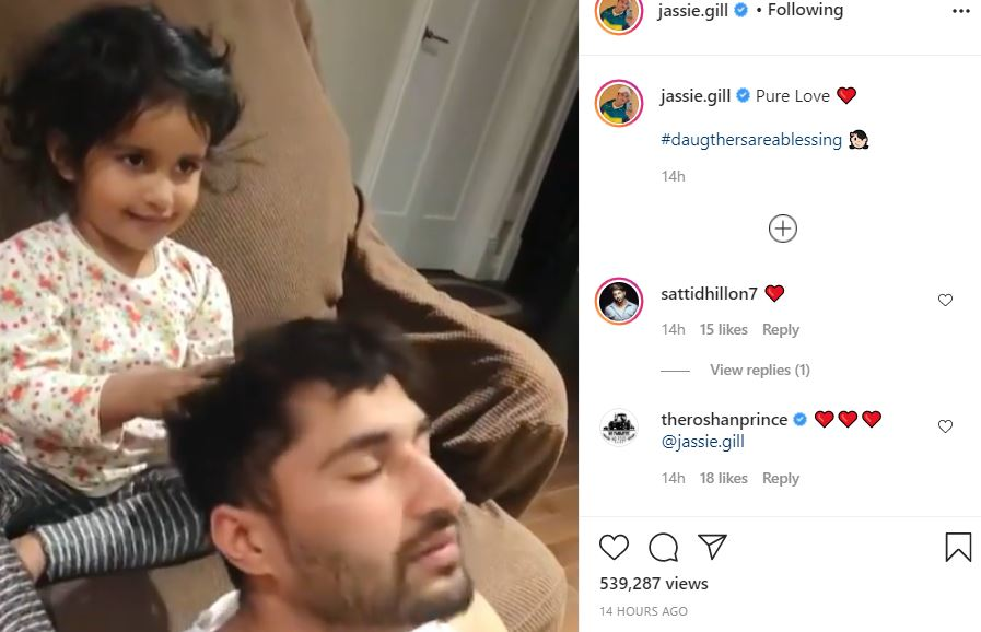image of jassie gill time spend with his daughter rojas kaur