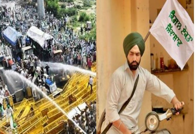 inside image of farmers protest ammy virk