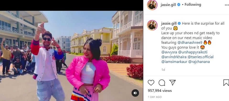 inside image of jassie gill new dance video with dhanshree