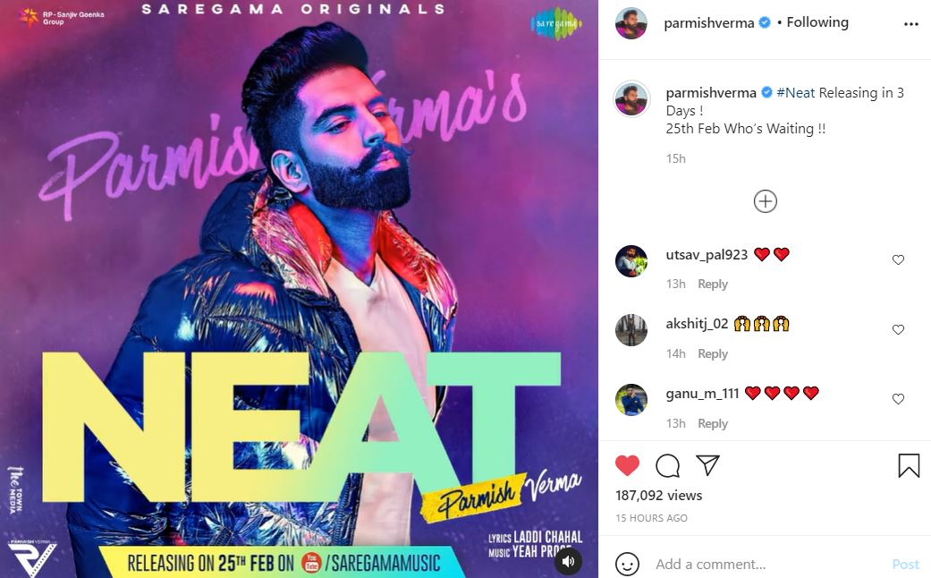 neat poster poster of parmish verma on his instagram