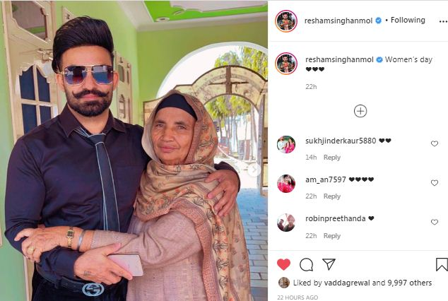inside image of resham singh anmol with mother