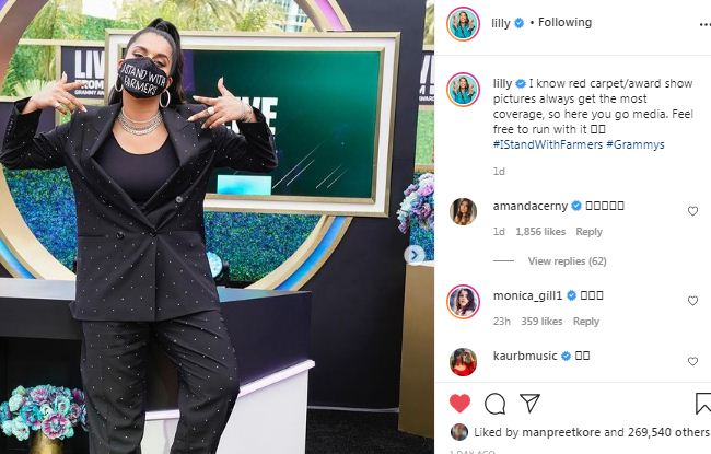 lilly singh support indian farmer protest
