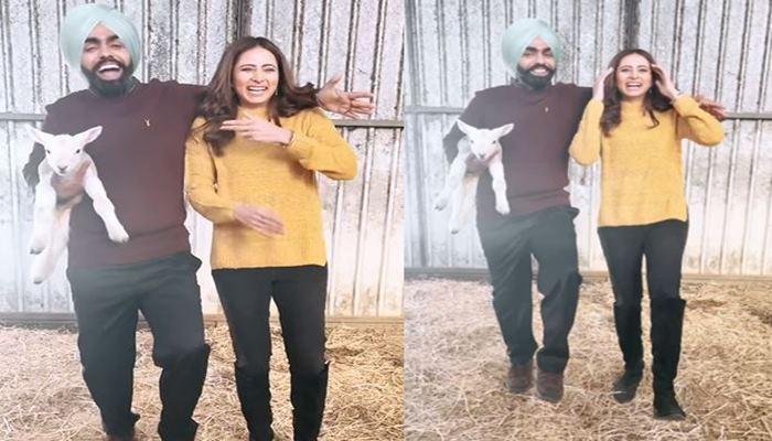 feature image of sargun mehta and ammy virk having fun on khabi seat song