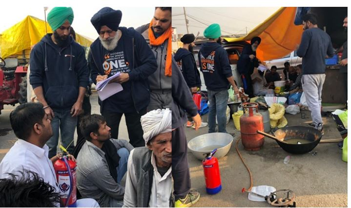 inside image of khalsa aid from farmer protes