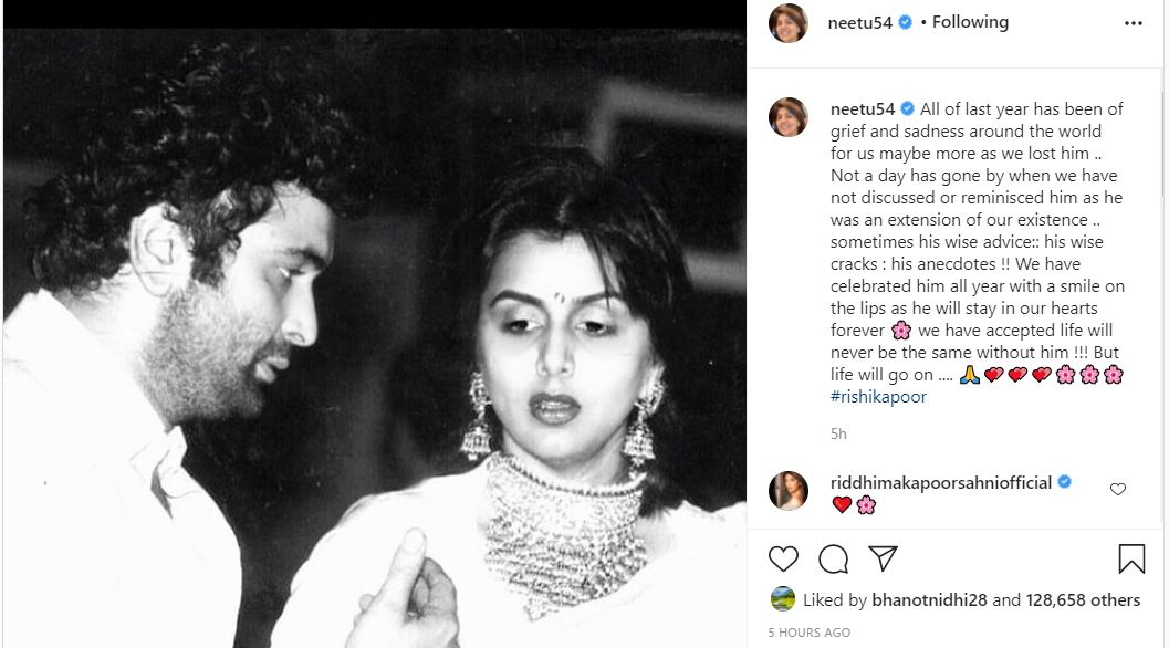 inside image of neetu singh post emotional note on his hubby rishi kapoor's first death anniversary
