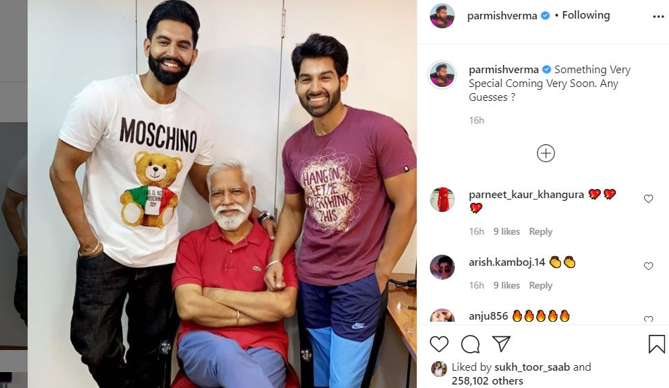 inside image of parmish verma post for his father and brother