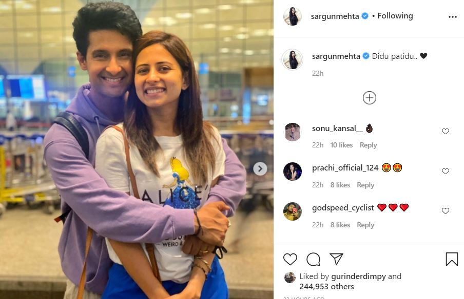 inside image of sargun mehta with hubby ravi dubbey