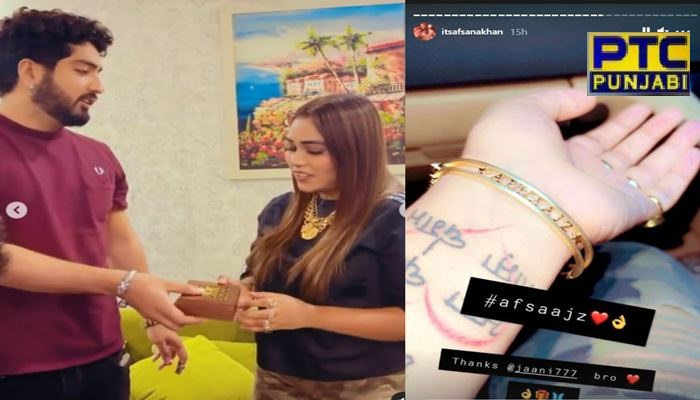 jaani gifted gold bracelet to afsana khan