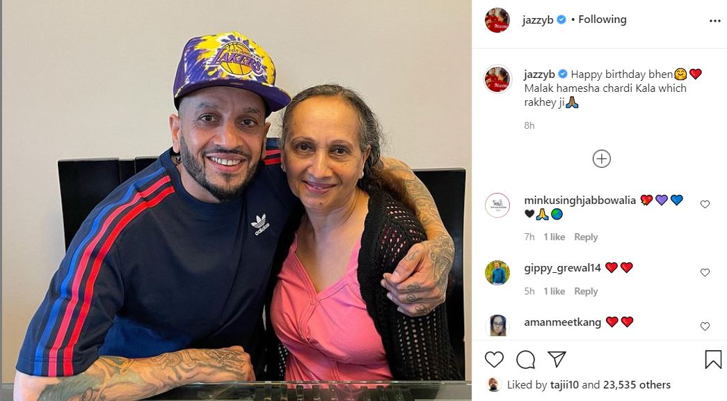 jazzy b with sister and wished her happy birthday