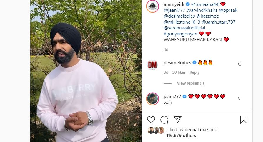 ammy virk made funny video on punjabi song