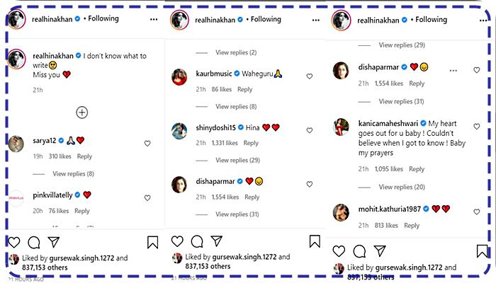 comments of hina khan post