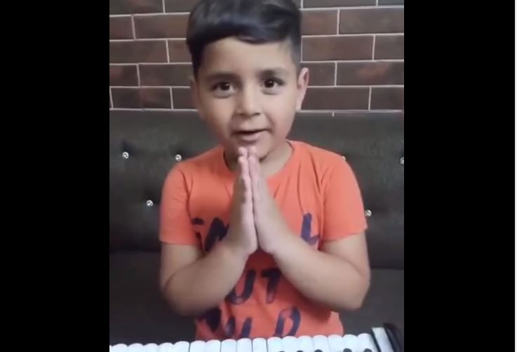cute kid of lovely message for covid