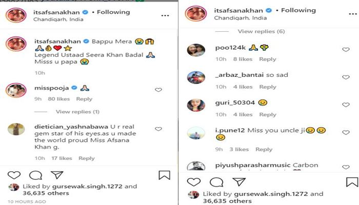 emotional post of afsana khan comments