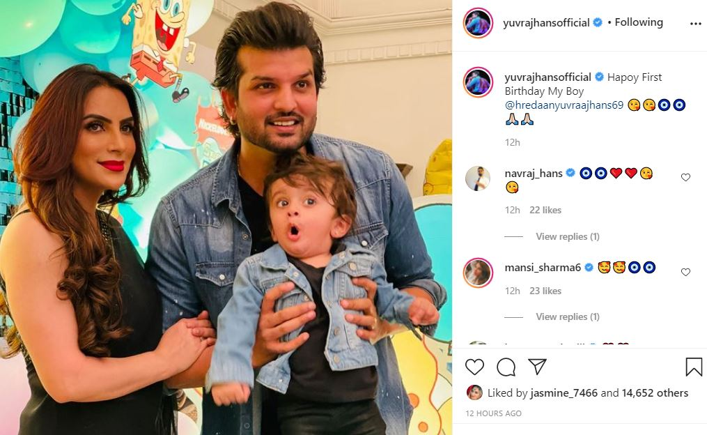 hredaan hans first birthday wished by his father yuvraj hans