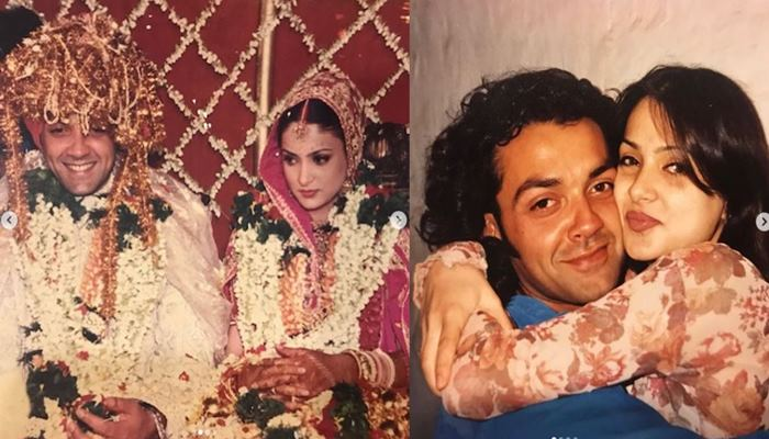 image of bobby deol with happy 25th wedding anniversary to his wife taina