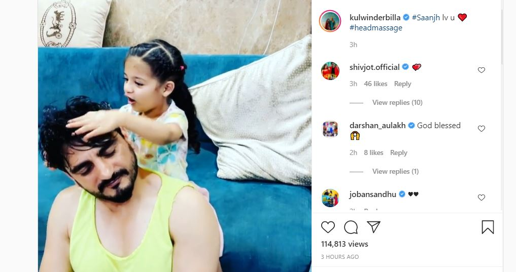 inside image of kulwinder billa cute video with daughter saanjh