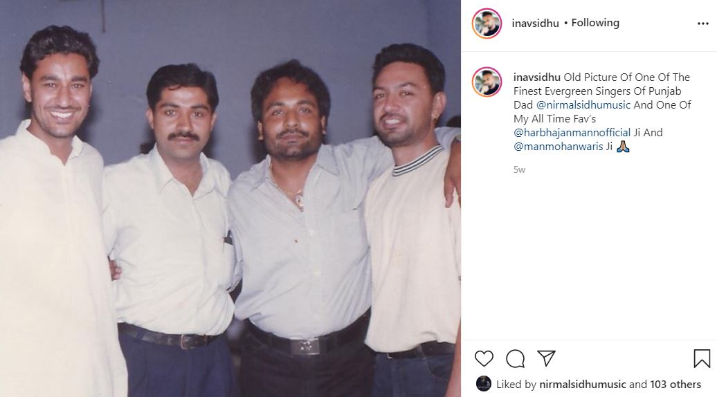 inside image of nav sidhu shared his father old pic with harbhajan mann and manmohan waris
