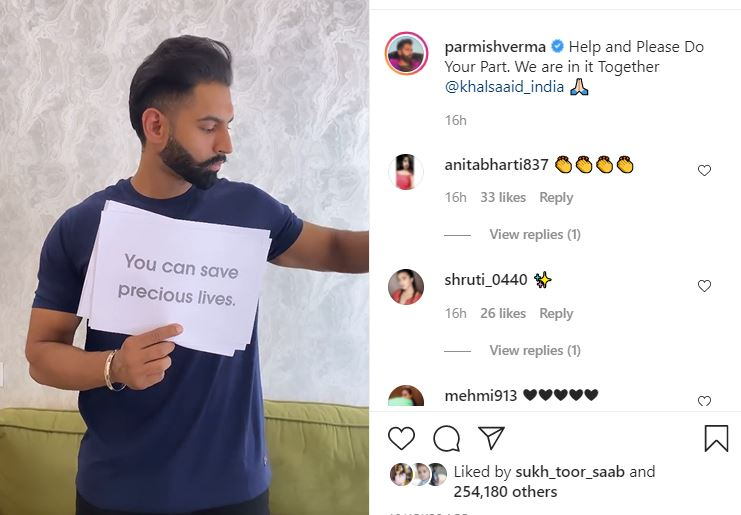 parmish verma shared video to join the hand with khalsa aid