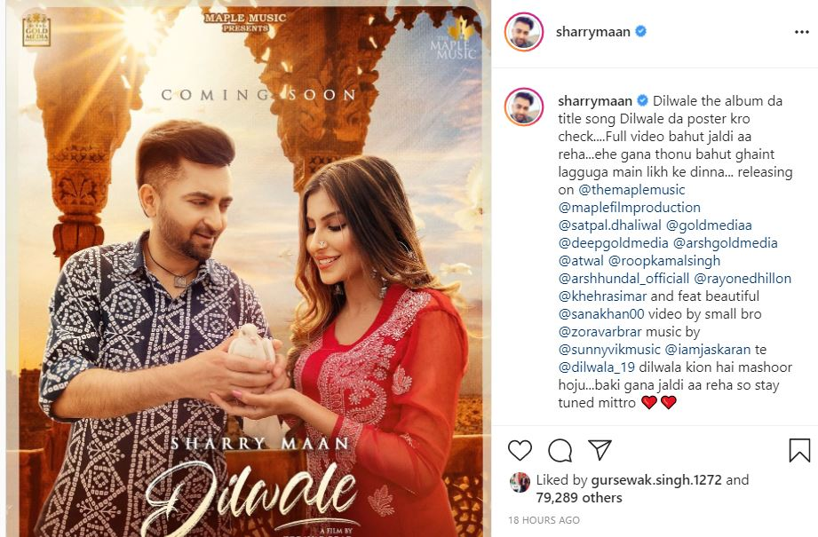 punjabi Singer Sharry Maan shared first look of dilwale poster