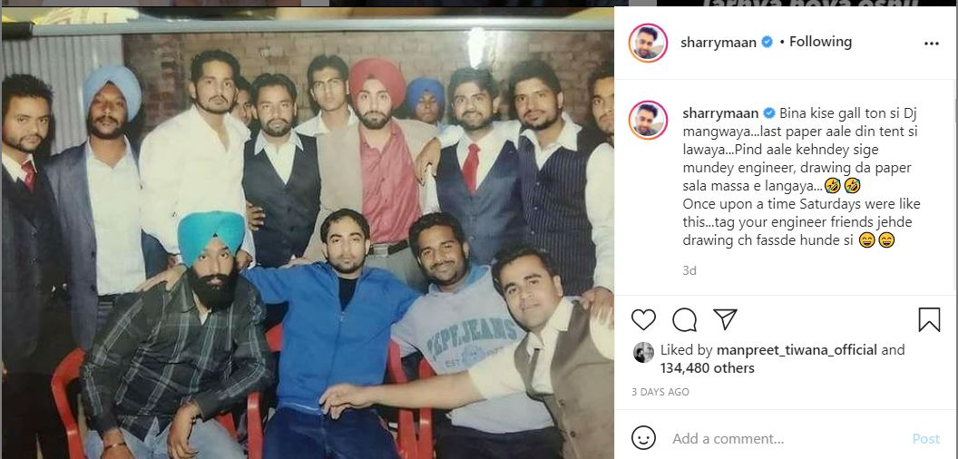 sharry maan with his old friends in engineering time