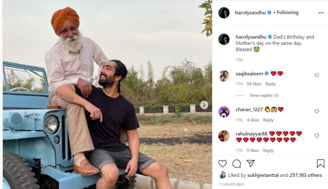 singer harrday sandhu wished happy birthday to his father