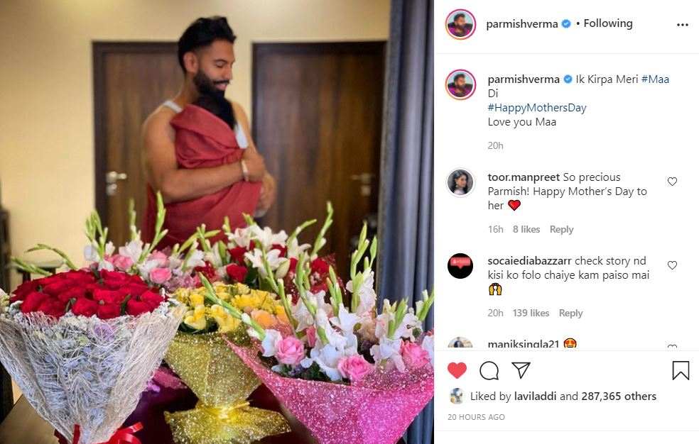 singer parmish verma post on happy mother's day