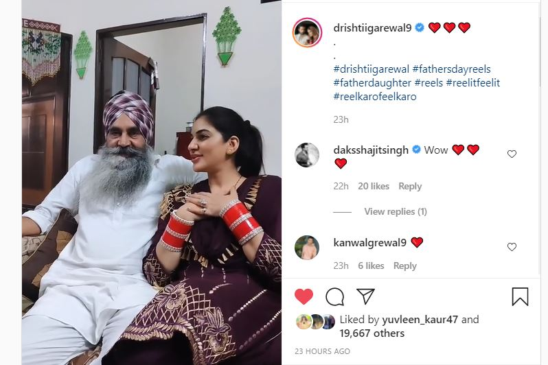 actress drishtii grewal got emotional to listen his father song