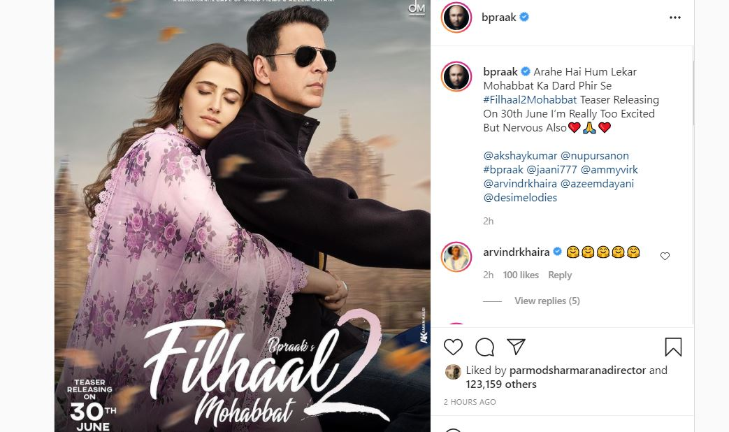 b praak shared filhaal 2 new poster with fans
