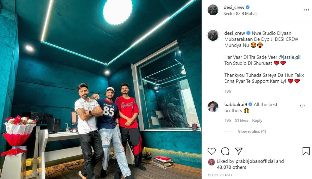 desi crew posted his new studio image with jassie gill