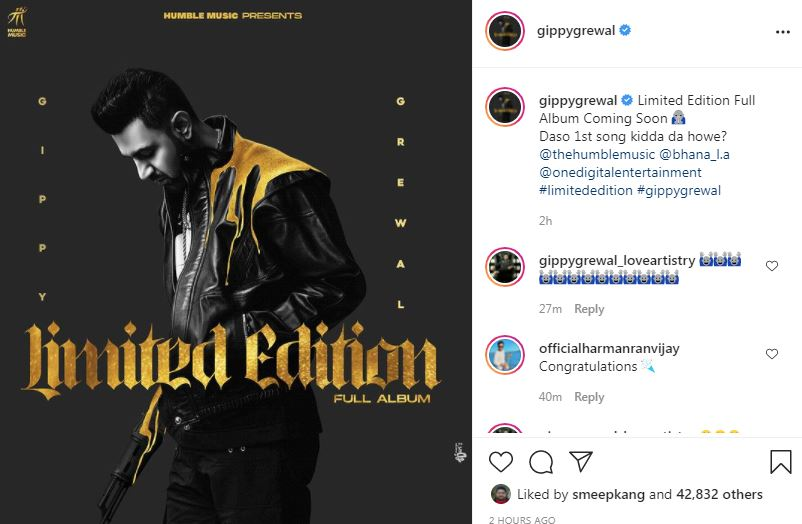 gippy grewal shared his new music album poster