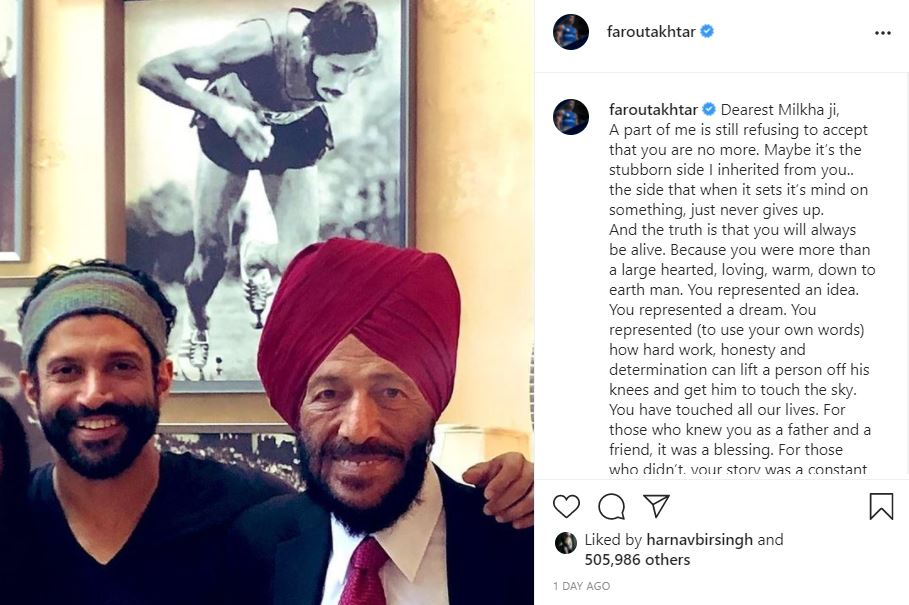 inside image of farout akhtar post for milkh singh