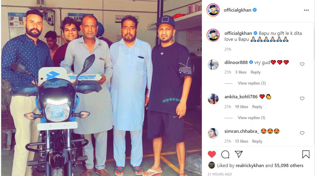 inside image of g khan gifted his father with new bike