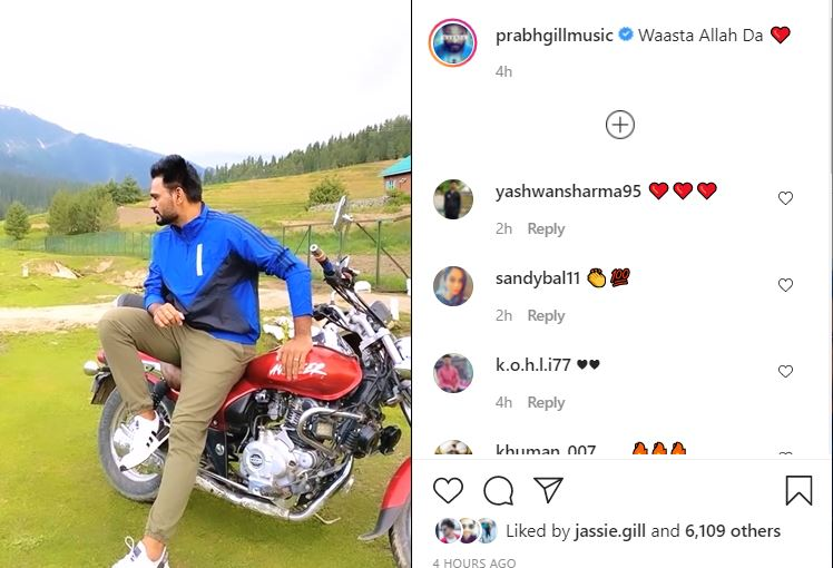 inside image of prabh gill shared cute video with fans from kashmir