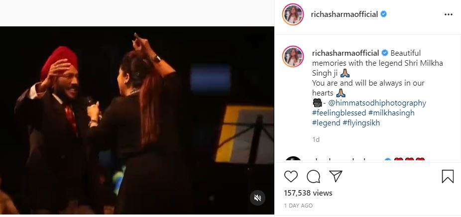 inside image of rich sharma shared useen video of milkha singh