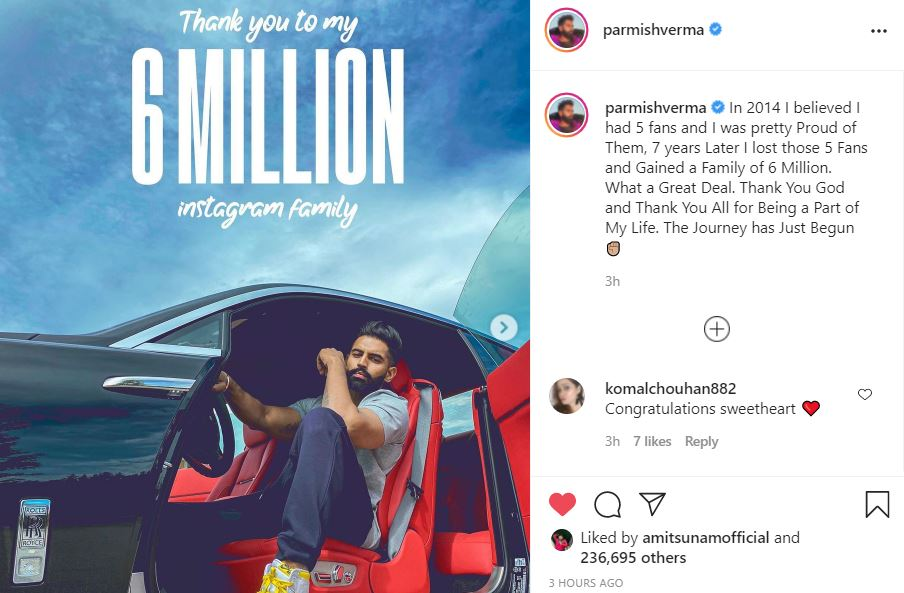 parmish verma shared thanks note to fans on 6 million on instagram