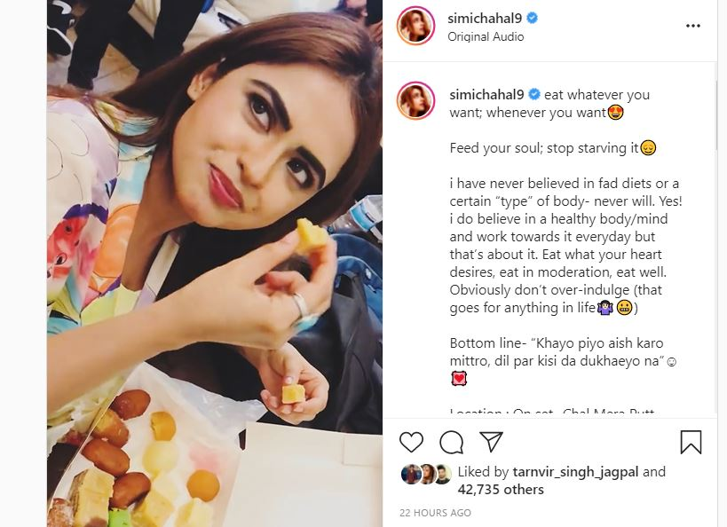 simi chahal with sweets