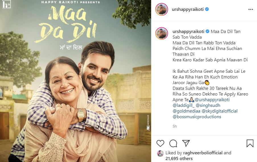 singer happy raikoti shared poster with maa da dil instagram