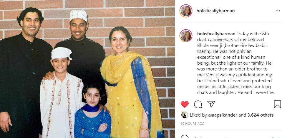 singer harman maan shared her brother in law