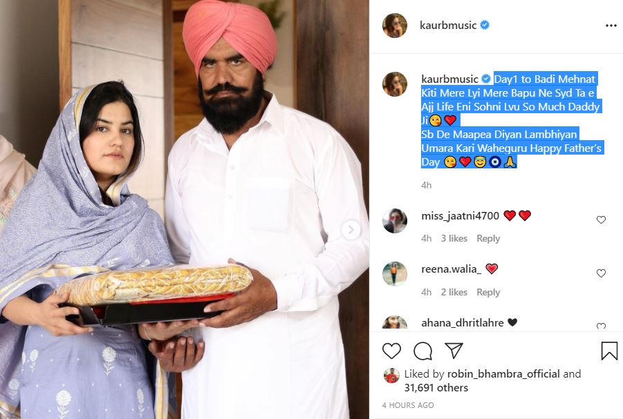 singer kaur b wishe happy father day to shared her father images