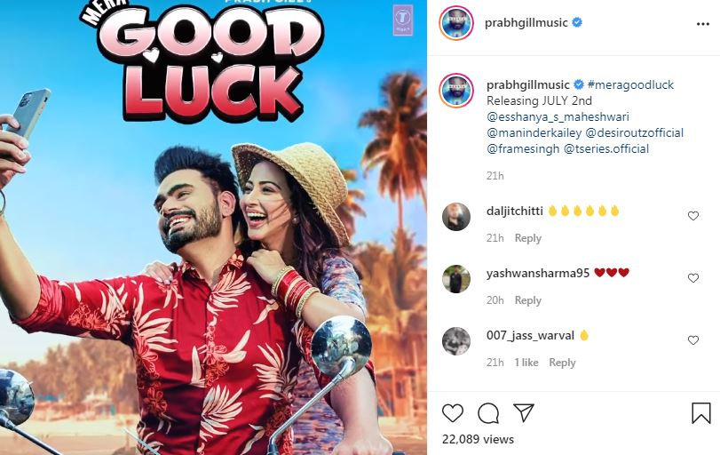 singer prabh gill shared mera good luck new poster with releasing date