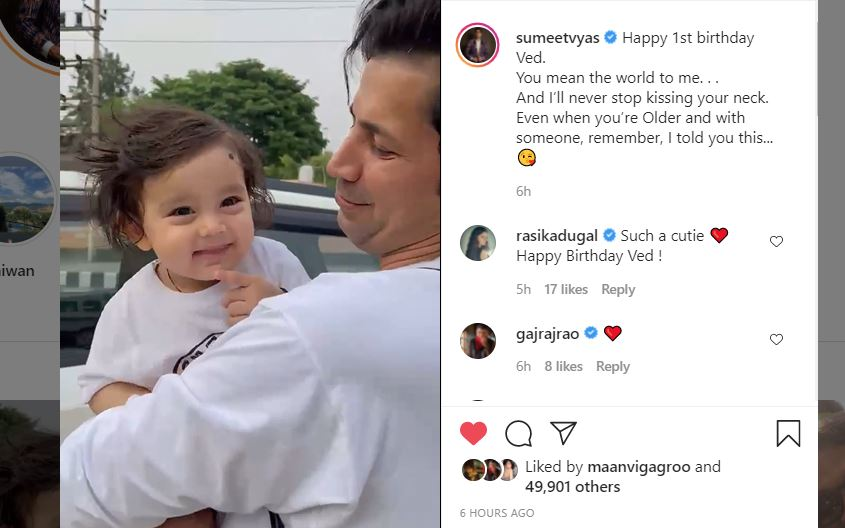 sumeet vyas with his son ved's first birthday