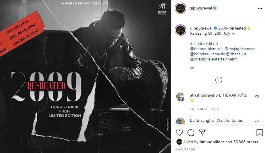 gippy grewal shared his new song poster from limited edition