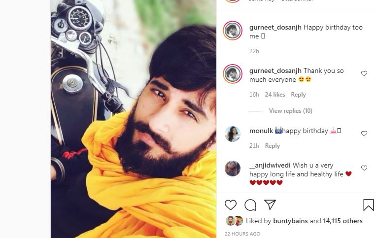 gurneet dosanjh shared his video and wished himself happy birthday